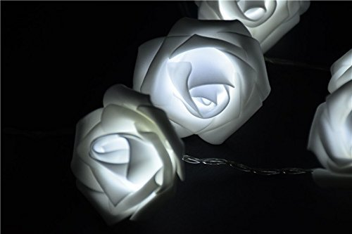 grandey Fashion Urlaub Beleuchtung 20x LED Neuheit Rose Blume Lichterkette Hochzeit Garten Party Weihnachten LED-Leuchten weiß