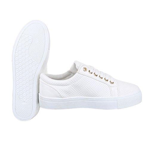 Low-Top Sneaker Damen Schuhe Low-Top Schnürer Schnürsenkel Ital-Design Freizeitschuhe Weiß