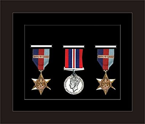 Kwik Picture Framing | Military / War / Sports Medal 3D Box Picture Frame Fits Three Medal - Black Frame with Black