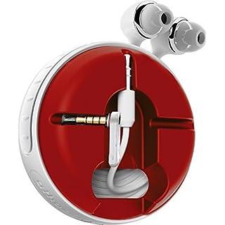 athos-c Cross, weiß-rot - der hochwertige, universelle Aufroller für Kopfhörerkabel in Fanfarben