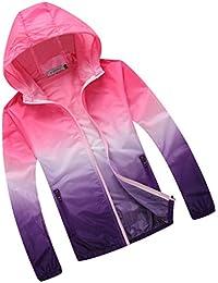 Generic Veste de Sport Femme Homme Capuche Anti-uv Impermeable Séchage Rapide Léger Coloré - Rose et Violet, L