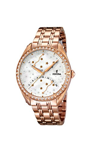 Festina Women's Quartz Watch with White Dial Analogue Display and Rose Gold Stainless Steel Plated Bracelet F16742/1