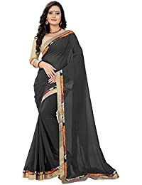 Tryme Fashion Women's Georgette Saree With Blouse Piece (Saree For Women's Trm280_Black)