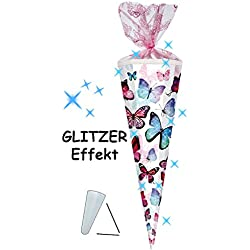 alles-meine.de GmbH mit 3-D Glitzer Effekt ! - Schultüte - Schmetterlinge - Bunt - 70 cm - Run..