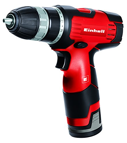 Einhell TH-CD 12 Li - Taladro sin cable, 2 velocidades, batería de 1.3 Ah, 24 Nm, portabrocas 10 mm, 12 V, color negro y rojo