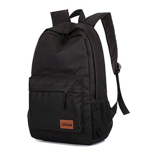 Outdoor peak Unisex hochwertige Nylon Büchertasche Rucksack Laptoptasche Unitasche Freizeitrucksack Schulrucksack Studententasche Daypacks Reisetasche(Schwarz)