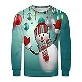 KPILP Pullover Herren Weihnachts Langarm Pullover Jumper Christmas Rundhals Sweatshirt Mode Drucken Patchwork Tops Outwear Bequem Oberteile