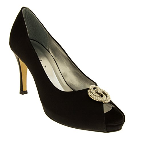 Footwear Studio, Peep-Toe donna Raso Nero