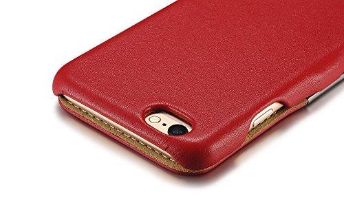 Étui de luxe série (couleur) Housse étui de protection en cuir véritable pour Apple iPhone 611,9cm rouge