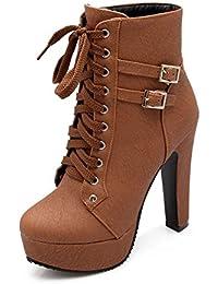 Minetom Mujer Moda Otoño Invierno Puntera Redonda Estiletes Cremallera Lace-Up Tobillo Botas Color Sólido Zapatos de Tacon