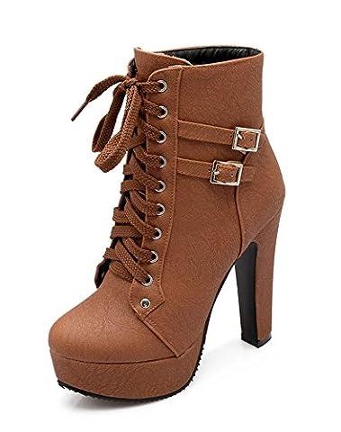 Minetom Damen Worker Boots Einfarbige Schnürsenkel Hohe Absätzen Stiefeletten mit Schnalle Blockabsatz Schuhe Outdoor Stiefel Braun EU 36