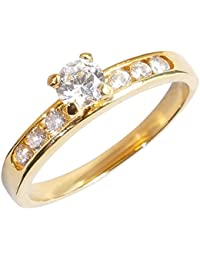 Stunning Simulated Diamonds Engagement 4.5mm Solitaire Ring. Channel Side Setting On The Shoulders. 0.34ct. Outstanding Quality Designer Ring. Luxury Pouch Included.