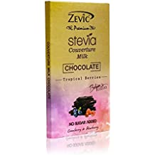 Zevic Milk Couverture Chocolate with Stevia, Cranberry and Blueberry, 90g