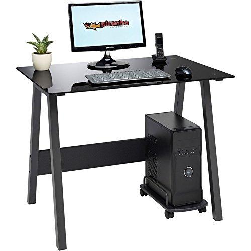 Barben Compact schwarz gehärtetem Glas Computer Schreibtisch Home Office Möbel Piranha PC 7BG -