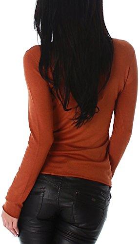Jela London Damen Feinstrick-Longsleeve / dünner Pullover mit Steinchen-Applikation (Einheitsgröße 34 36 38) Camel