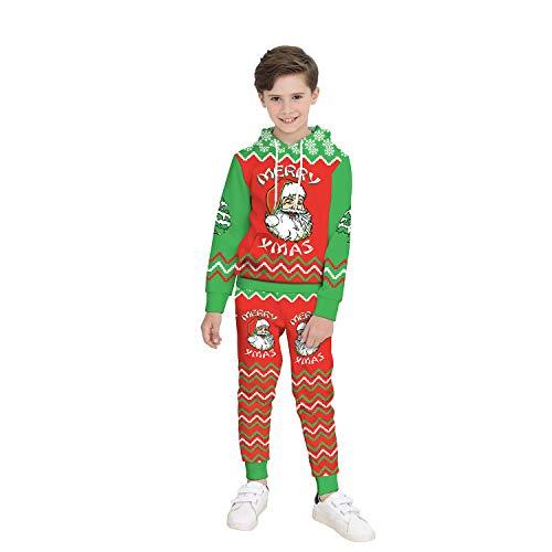 Kinder Weihnachtskostüm, 3D Santa Digital Print Kinder Lange Ärmel Sweatshirt + Sweatpants Zwei Stück Set (Bestes Weihnachtsgeschenk),Hooded,XL (Kostüm Kinder Santa Monica)