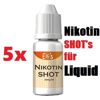 Nikotin Shot Set 5x 10ml, 50PG/50VG, 20mg for Liquid by Sensation von Eli's