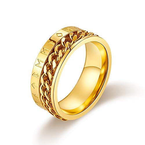 Valily Herren Wikinger Rune Ring Gold Edelstahl drehbar Ring kubanische Kette Band Ring Alten Amulett Wikinger Schmuck Größe 64 (Gold Herren Ringe Größe 11)