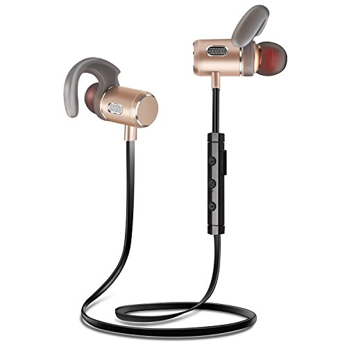 Youer Écouteurs Bluetooth, FT3 Écouteurs Sport sans Fil Casque Bluetooth V4.2 Oreillette, IPX5 Anti-Sueur Intra-Auriculaires avec magnétique Et Microphone pour Smartphones, iPhone (d'or) –Fozento