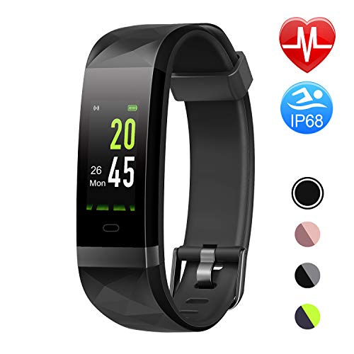 Letsfit Fitness Armband Farbbildschirm mit Pulsmesser, Fitness Tracker IP68 Wasserdicht 0,96 Zoll Aktivitätstracker Schrittzähler Pulsuhren Smart Watch für Herren Damen MEHRWEG -