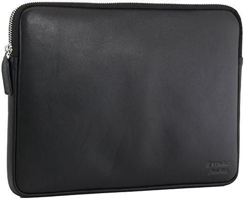 StilGut Sleeve Bellevue MacBook Sleeve aus echtem Nappa-Leder mit Innenfächern und Reißverschluss für Notebooks bis 12