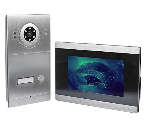 GVS IP Video Türsprechanlage, Unterputz-Türstation IP65, 1x 7 Zoll Monitor, Handy-App, HD-Kamera 115°, Türöffner-Funktion, 32GB Foto-/Video-Speicher, PoE-Switch, 1 Familienhaus Set, AVS2025U -