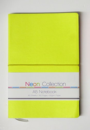 a5-soft-touch-notebook-notepad-neon-colours-ruled-feint-lined-160-pages-yellow