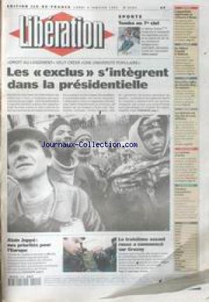 LIBERATION [No 4243] du 09/01/1995 - DROIT AU LOGEMENT ALAIN JUPPE - NOS PRIORITES POUR L' EUROPE LE TROISIEME ASSAUT RUSSE SUR GROSNY SPORTS - TOMBA AU 7e CIEL LE FANTOME D' IDAHO L' ARGENT DE LA PAIX MANQUE A ARAFA
