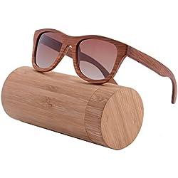 SHINU Polarizadas Gafas de Madera de Bambú Gafas de Sol Wayfarer Lentes de la Vendimia del Templo de Madera y Marco Gafas de Sol con Casos-Z6016(c1-red sandalwood, gradient brown)