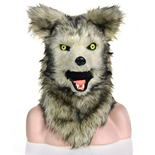 ske Tierkopfbedeckung heißer Verkauf echte Maske handgefertigt benutzerdefinierte grauer Wolf bewegt Mund simulierte Tiermaske mit Pelz Dekoration Halloween und Party Karneval Spaß ()