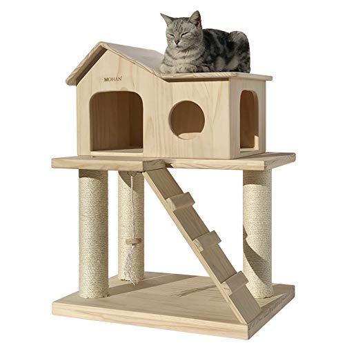 CWYP-MS Katzenhäuser & Eigentumswohnungen Kleine kletternde Rahmenkatzenkatzenkatzenkatze der massiven Holzkatze springende sisal Säulenkatzenmöbel der Plattform eine