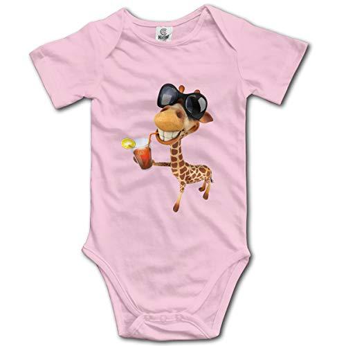 EricJohnston Giraffe-mit-Sonnenbrille-Trinken-Saft Neugeborene Mädchen Jungen Kind Baby Strampler Kurzarm Kleinkind Kleinkind Overall(0-3M,Pink) -