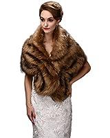 EnjoyBridal® Faux Pelz Warm Winter Bolero Stola Jäckchen Umhang Hochzeit Brautjacke Brautstola Cape