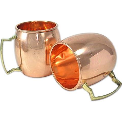 asiacraft 100% puro rame Tazze per Mosca Mules Set di 216oz No Rivestimento interno, finitura laccato, approvato dalla FDA