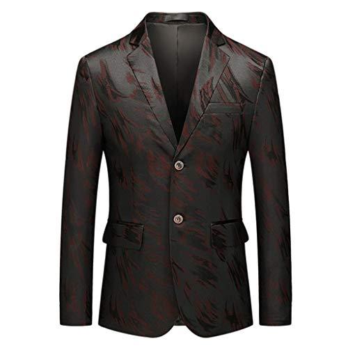 LILIHOT Smokingjacken Herren Casual Sakkos Print Langarm Anzug Jacke Slim Fit Anzugjacken Outwear Coat Blazer