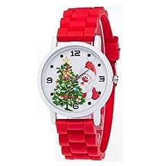 Idea Regalo - Autoino Orologio da Polso Decorativo Albero di Natale Babbo Natale Vacanza Orologi da Polso da Uomo Donna Bambini e Ragazzi, Rosso