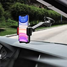 Mpow [Versione AGGIORNATA Supporto Smartphone per Auto Culla Regolabile per Cruscotto e Parabrezza, Porta Cellulare per Molti Smartphone e Dispositivi Switch, GPS, Rosso