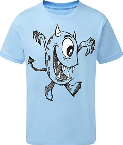 Kinder T-Shirt: Kleines Monster - Geschenk für Jungen und Mädchen - Halloween - Junge Kind - Sport Trikot Pyjama - Zombie Märchen Nacht Grusel Spuk Geist Gespenst Ghost - Blau - Geburtstag (110/116)