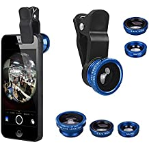 LightHome 3 in 1 180 Degree Fish Eye Lens + Wide Angle + Micro Lens Kit for iPhone 4 4S 4G 5 5G 5S 5C 6 Plus iPad 1 2 3 4 5 Samsung GALAXY S2 I9100 S3 I9300 S4 I9500 Note I9220 Note2 N7100 Note3 S3 S4 S5 mini i8190 S7562 HTC LG-Blue by LightHome
