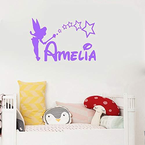 er mädchen Name schlafzimmerprinzessin Tinkerbell Benutzerdefinierte Name Kunst vinylaufkleberfürkinderzimmer dekor 46 * 32 cm ()