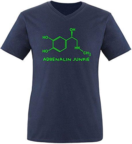 EZYshirt® Adrenalin Junkie Herren V-Neck T-Shirt Navy/Neongrün