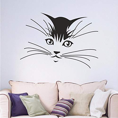 Katze Kätzchen Schnurrhaare Kind Schlafzimmer Wohnzimmer Jugendliche Abziehbild Vinyl Kunst Wandaufkleber Autocollant Wandbild 56 * 80 Cm Zxfcczxf