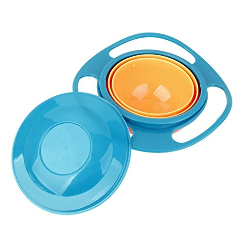 J * MYI 360 Form niedliche Kinder drehbar Schale drehbar Schüssel Gyro Bowl für Kinder Futternapf (blue) -