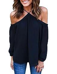 Ninimour Camiseta Clásica sin Hombro de Managa Larga para Mujer