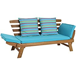 greemotion Banc en bois extérieur Borkum - Canapé modulable en bain de soleil - Banc extérieur en bois d'acacia - Chaise longue de jardin - Bain de soleil moderne - Banquette de jardin