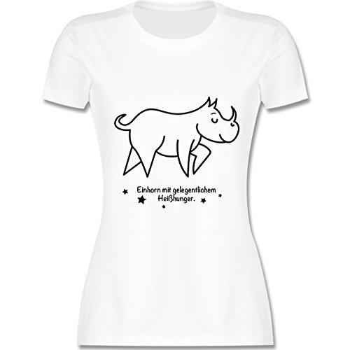 Typisch Frauen - Einhorn mit gelegentlichem Heißhunger - tailliertes Premium T-Shirt mit Rundhalsausschnitt für Damen Weiß