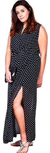 Chocolate Pickle® Nouveau Femmes Mousseline de soie Enrouler Côté Divisé Longue Imprimé Plus Taille Maxi Robe 44-54 Black-Spot
