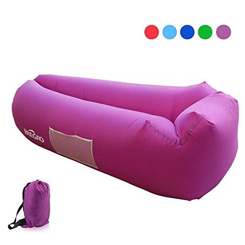 IREGRO Sofa Hinchable con almohada integrada y bolsa, tumbona hinchable, sofa inflable, portátil impermeable ligero poliéster aire sofá inflable ocioso, aire cama Tumbona de playa para viajes, piscina, Camping, parque, playa, patio trasero (Púrpura)