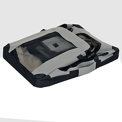 faltbare Hundebox Haustier Transportbox klappbare Autobox 60x42x44 cm gepolstert Katzen Henkel Tragetasche Grau - 4