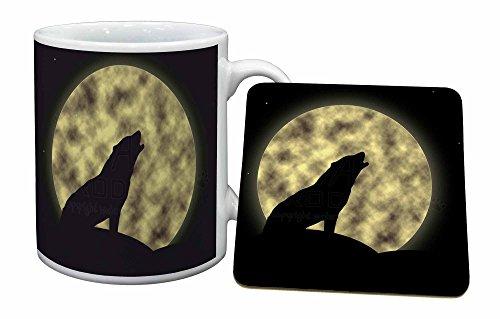 Advanta - Mug Coaster Set Howling Wolf und Mond Becher und Untersetzer Tier Geschenk Wolf Coaster Set
